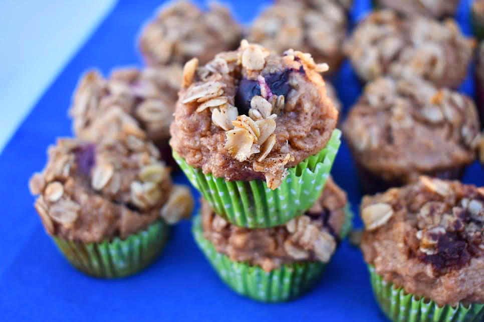 Blueberry Banana Muffins Featuring Greek Yogurt and an Oatmeal Crumble Topping