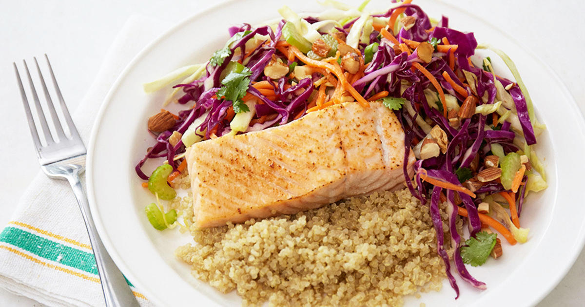 Brighten a Weeknight Dinner with This Chopped Sesame Salad with Salmon & Quinoa