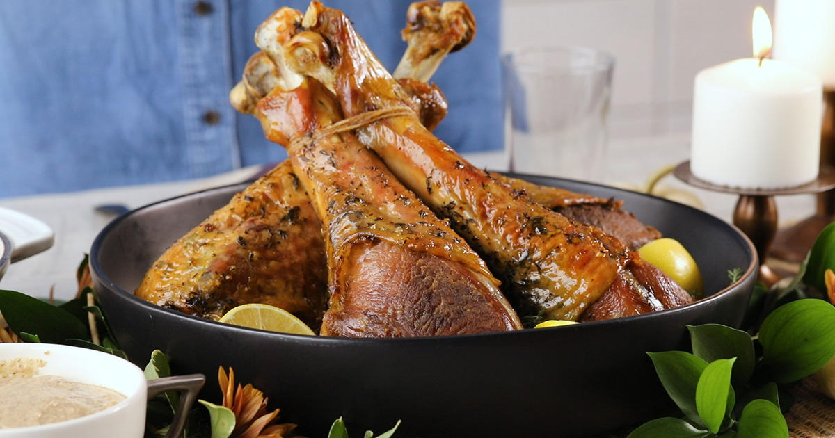 Lemon-Thyme Roasted Turkey Legs with Almond Butter Gravy