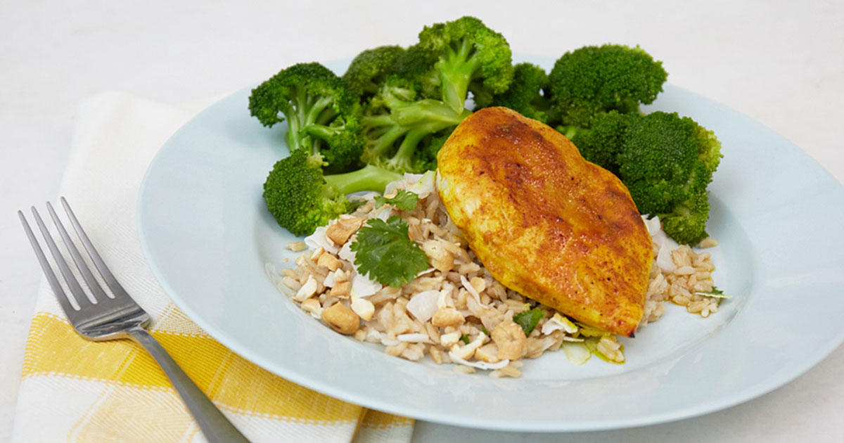 This Golden Chicken with Coconut Rice & Broccoli Is Your Answer to Dinner Tonight