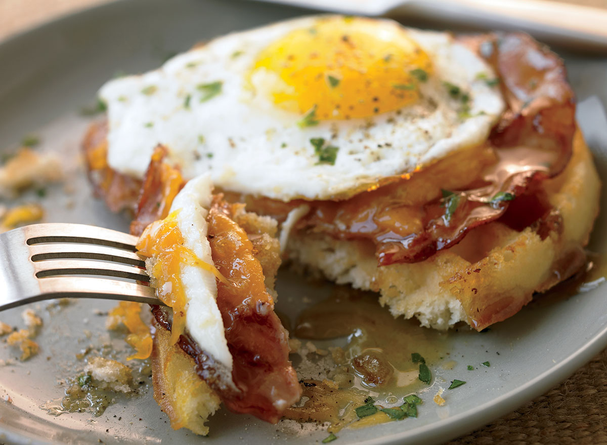 A Savory Waffle With Ham and Egg Recipe