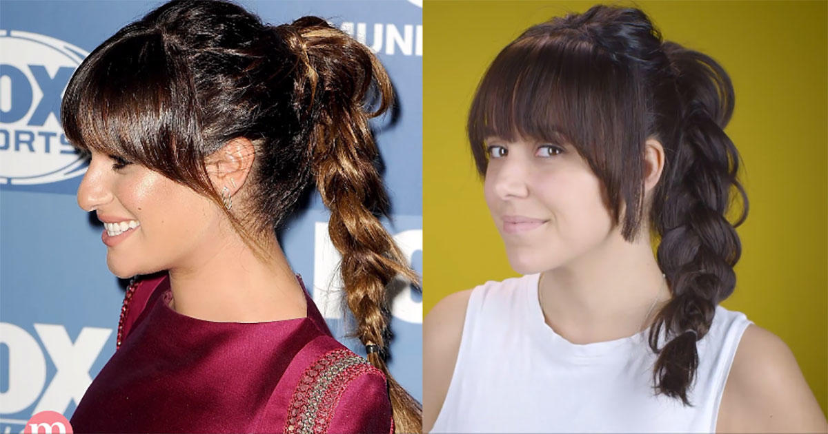 How to Recreate Lea Michele's Red Carpet-to-Gym Braided Ponytail