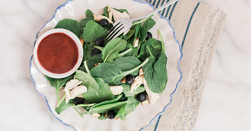 Try This Fresh Summer Salad with Chicken, Spinach, Almonds, Blueberries, and Mint