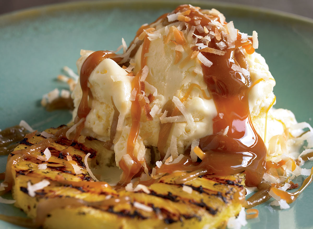 A Vanilla Grilled Pineapple and Rum Sauce Sundae Recipe
