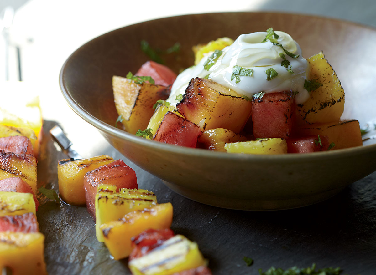 A Savory-Sweet Grilled Fruit Kebabs With Yogurt and Honey Recipe