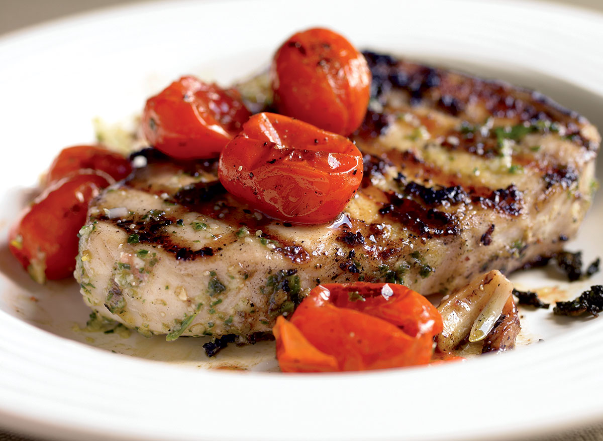 Healthy Pesto-Grilled Swordfish Steak Recipe