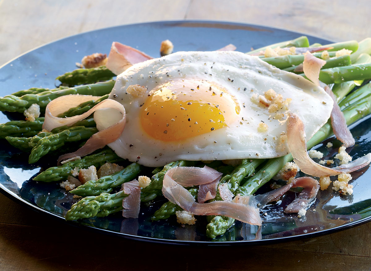 An Asparagus Salad With a Fried Egg and Prosciutto Recipe