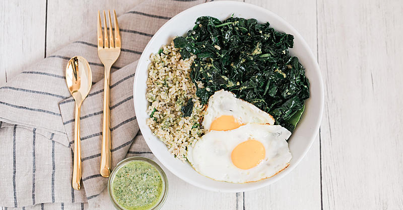 Brown Rice Kale Bowl with Walnut-Sage Pesto and Fried Eggs