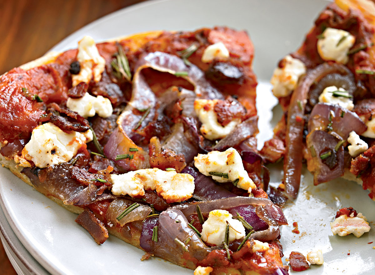 Bacon Pizza With Caramelized Onions and Goat Cheese Recipe