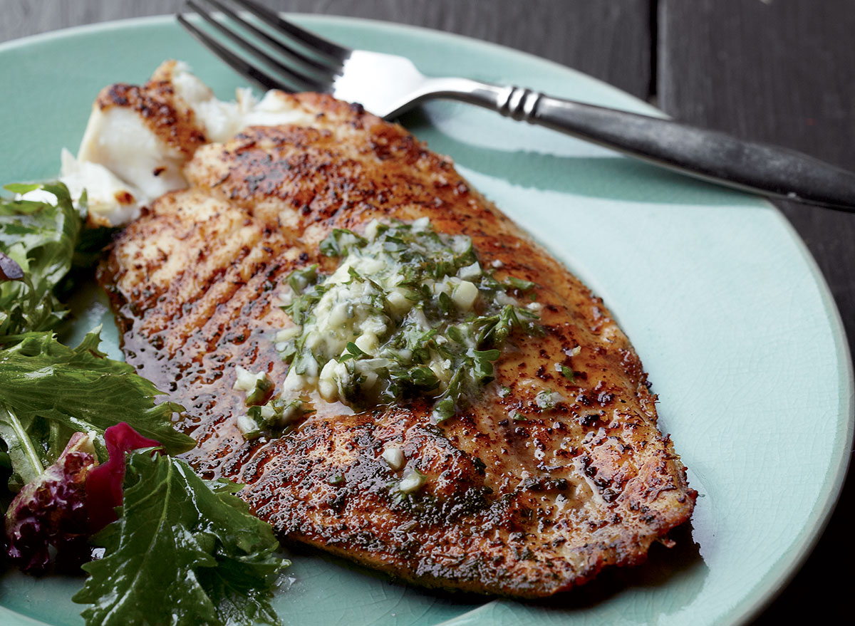 A Perfectly Blackened Tilapia With Garlic-Lime Butter Recipe