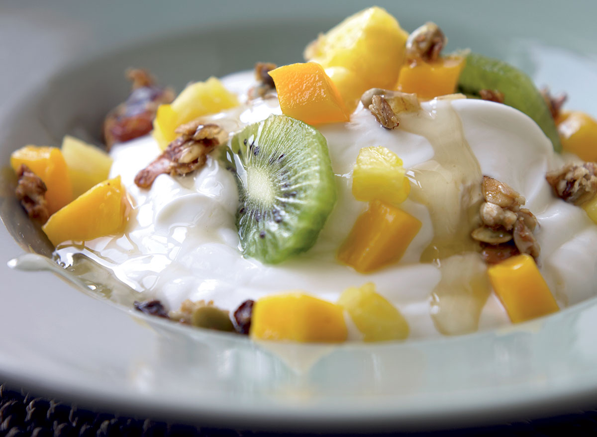 Greek Yogurt With Pineapple, Kiwi, Mango, and Ginger Syrup Recipe