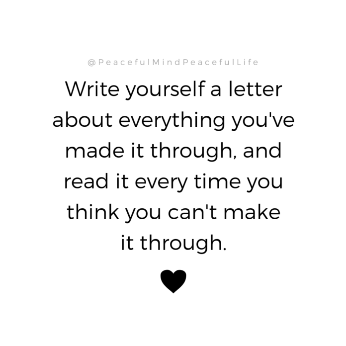 I did this.  I wrote myself a long letter and wrote one situation at a time, tha...