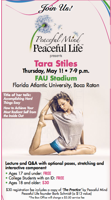 So excited to be with you Thursday, May 1 with the amazing Tara Stiles at the be...