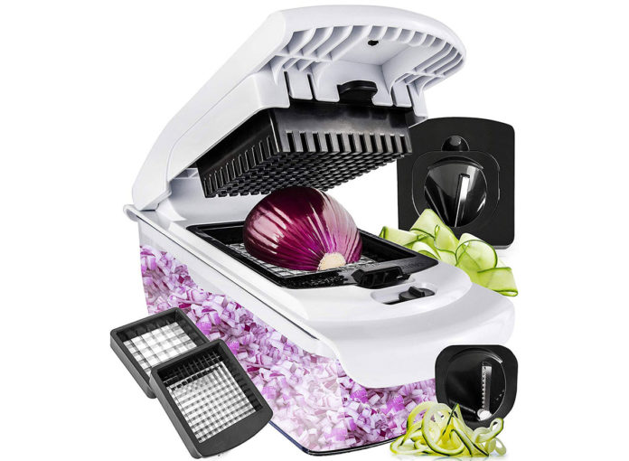 fullstar vegetable cutter spiralizer slicer with diced onion and zucchini ribbons