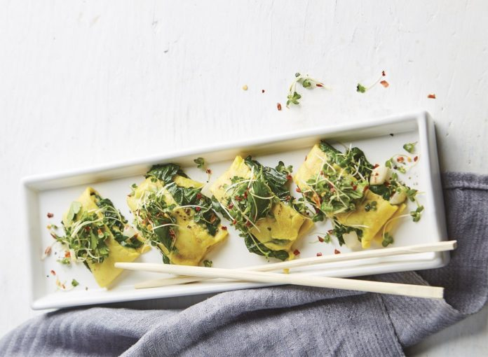 Japanese-Inspired Egg Pancakes With Spinach and Green Onions Recipe