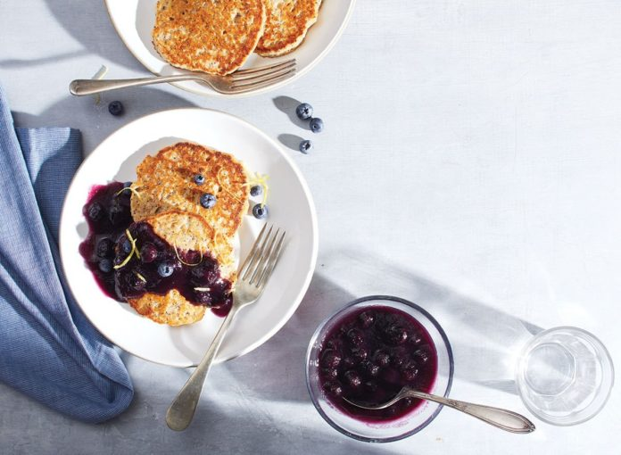 Healthy Lemon-Poppy Seed Multigrain Pancakes With Blueberry Compote Recipe