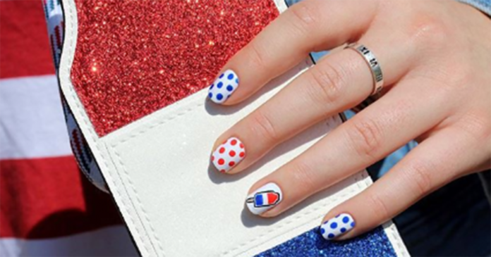 Cute Red, White, and Blue Fourth of July Nails