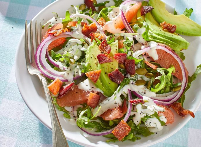 Keto Arugula and Grapefruit Salad With Dill Ranch Dressing Recipe