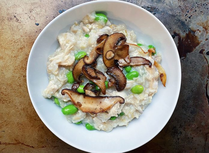 Brown Rice Congee with Chicken, Edamame, and Crispy Mushrooms