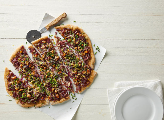 Whole-Wheat Pizza with Gruyère, Pancetta, and Caramelized Onions