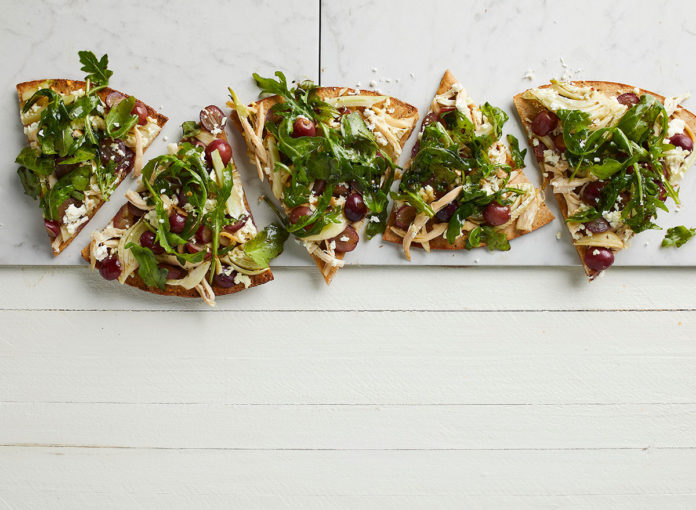 Harvest Pizza with Chicken, Grapes, and Goat Cheese