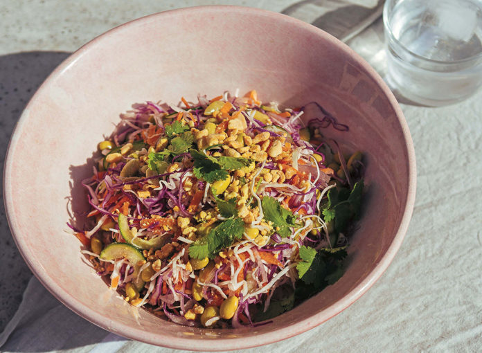 Crunchy Thai Ginger Salad with Peanut Butter Dressing