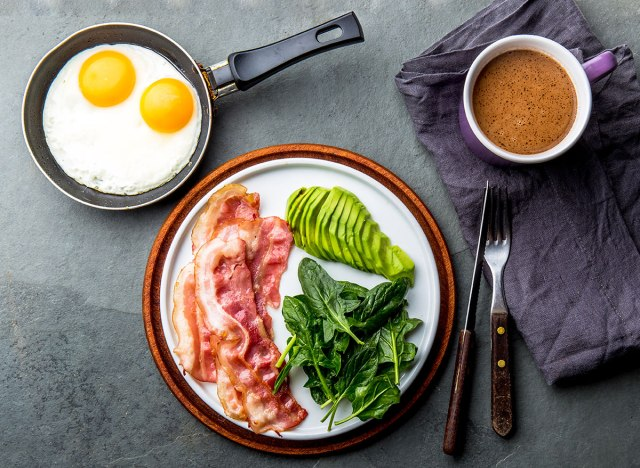 Table of keto diet foods on a table