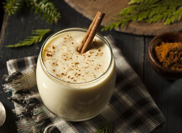 white holiday eggnog with cinnamon stick
