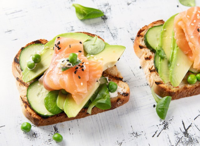 salmon avocado cucumber toast
