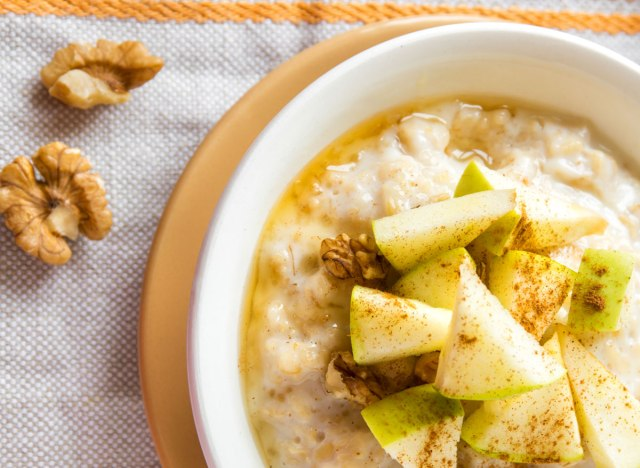 Steel cut oatmeal walnuts green apples cinnamon honey
