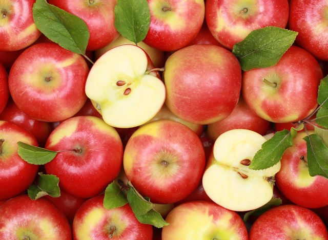 Red apples in bunch
