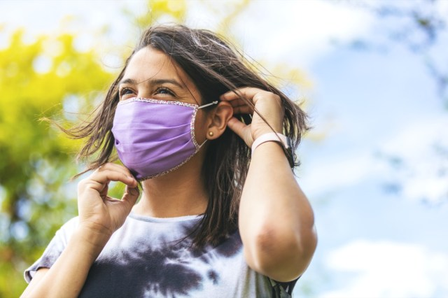 Female Wearing Face Mask and Social Distancing