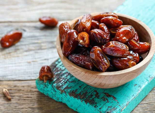 dates in wood bowl
