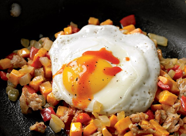 Breakfast hash with sweet potato and chicken sausage