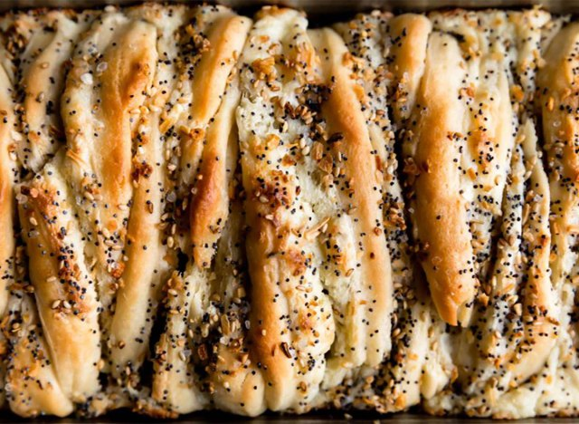 everything bagel pull-apart bread loaf closeup
