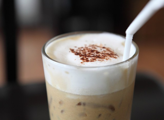 frozen coffee drink with straw