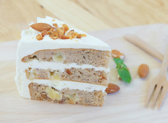 slice of hummingbird cake with cream cheese frosting