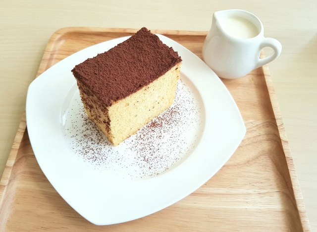 hot milk cake on a plate