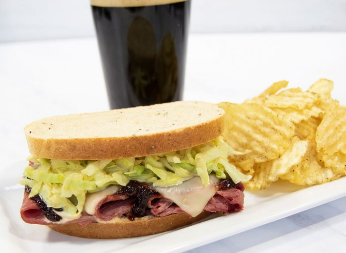 A Delectable Corned Beef Sandwich with Guinness BBQ Sauce