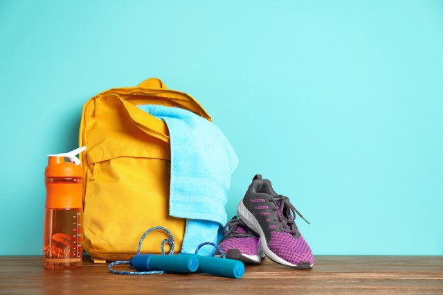 packed gym bag on the floor.