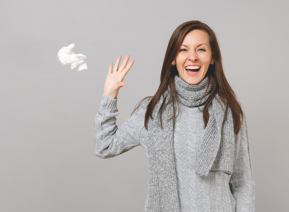 woman getting over a cold