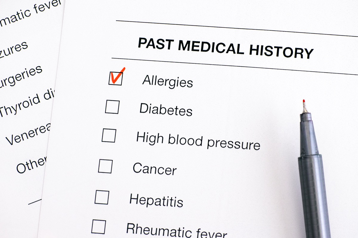 Past medical history questionary with ticked Allergies and pen