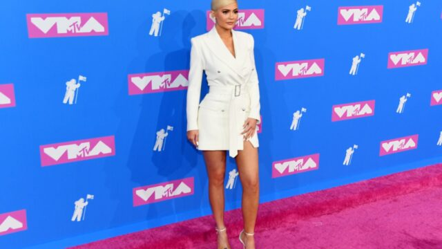 kylie jenner in white jacket on red carpet