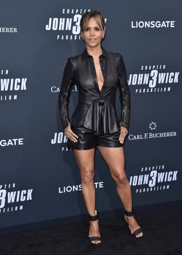 halle berry in leather outfit on red carpet
