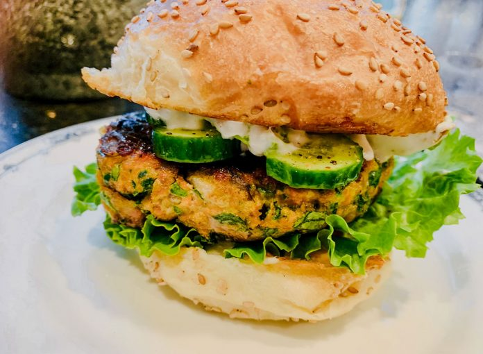 Honey Miso Salmon & Spinach Burgers with Watercress, Pickled Ginger & Cucumbers