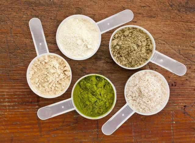 Different types of protein powder plant animal whey