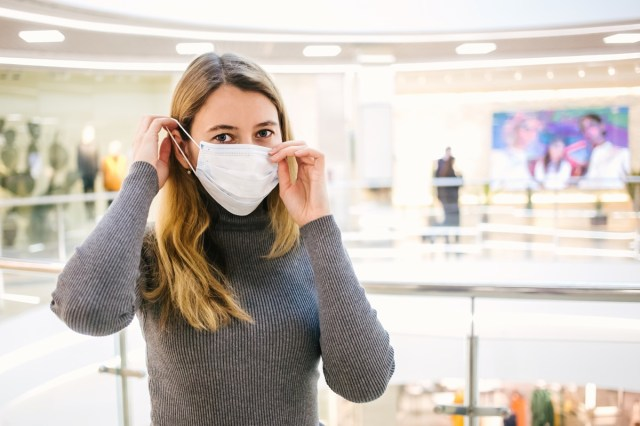 Woman with medical mask to protect her from virus