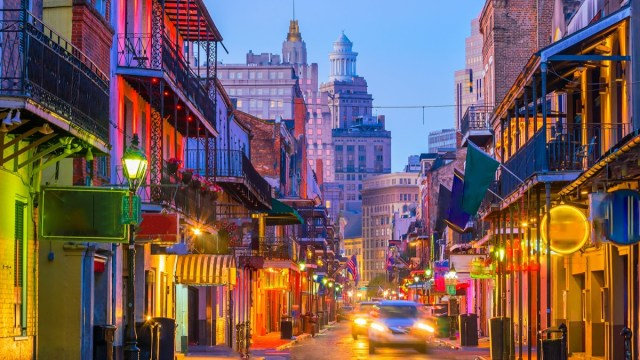 Pubs and bars with neon lights in the French Quarter, New Orleans USA