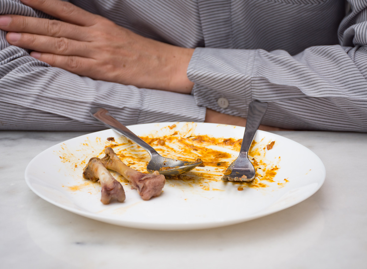 Man finished eating dinner clean plate