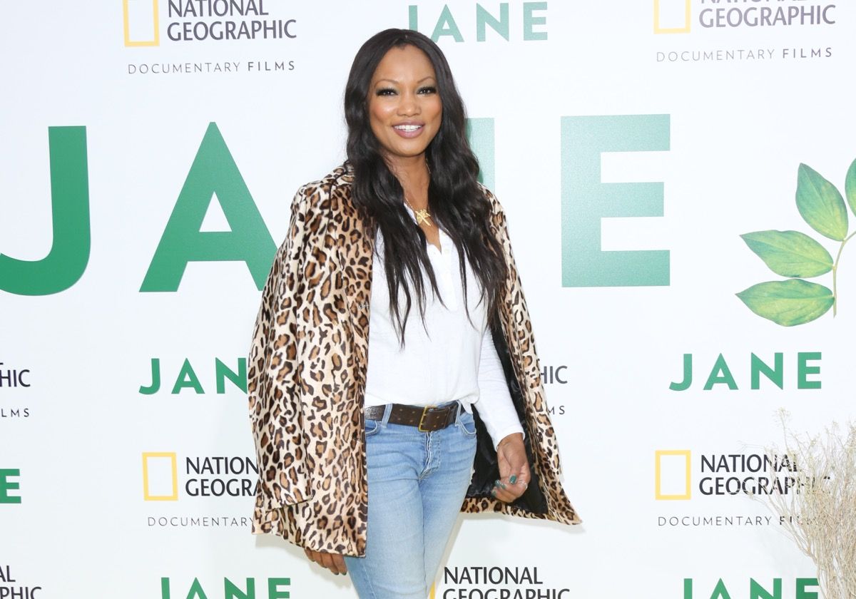 garcelle beauvais in jeans and leopard coat
